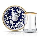 Teeglas und Unterteller aus Bone China Porzellan mit Blau- und Goldverzierung Blumendesign 165 ml 6er Set