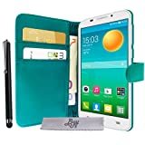 Etui Housse Luxe Turquoise Portefeuille Alcatel One Touch Pop S7 + STYLET et 3 FILM OFFERT!!