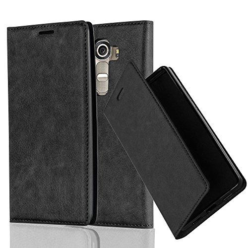 Cadorabo Hülle für LG G4 - Hülle in Nacht SCHWARZ - Handyhülle mit Magnetverschluss, Standfunktion & Kartenfach - Case Cover Schutzhülle Etui Tasche Book Klapp Style