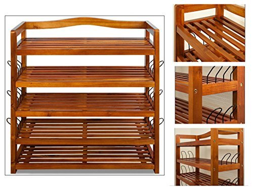 Wooden Shoe Rack Acacia Hallway Hardwood Furniture Storage up to 42 Shoes Wood Bookcase CD DVD Home Office Kitchen Bedroom Brown by Global Mall Direct