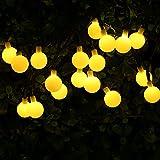 KEEDA Kugel Solar Beleuchtung, 7Meter,50er LED Solar Garten Lichterkette Beleuchtung, Solar Außenbeleuchtung/ Außen Lichterkette, Solarbetrieben Lichterkette, Dekorative Lichter, Weihnachtsbeleuchtung , Solarleuchten für Außen, Lichterketten für Draußen, Weihnachten/ Weihnachtsbaum Dekoration (Warmweiß)