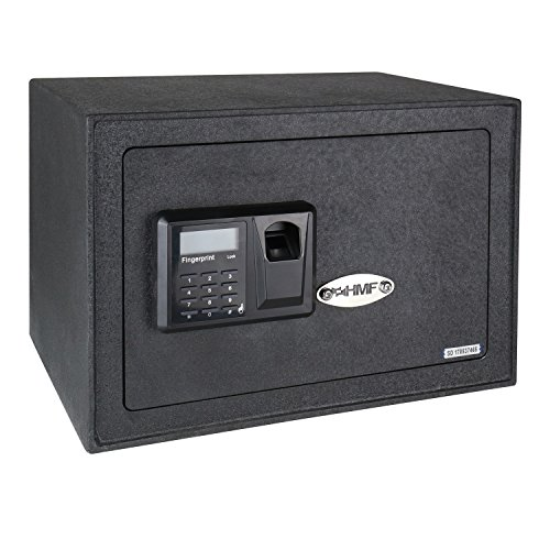 HMF 49122 Caja Fuerte Escaneo de Huellas Dactilares, Cierre Electrónico, Safe, 35 x 25 x 25 cm
