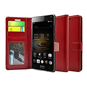 FOSO(™) Lenovo Vibe P1 High Quality PU Leather Magnetic Flip Cover Wallet Case (Glamour Red)