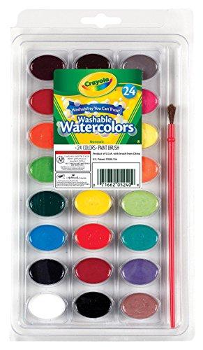 Crayola-i lavabilissimi acquerelli con pennello, per scuola e tempo libero, colori assortiti, 24 pezzi, 53-0524