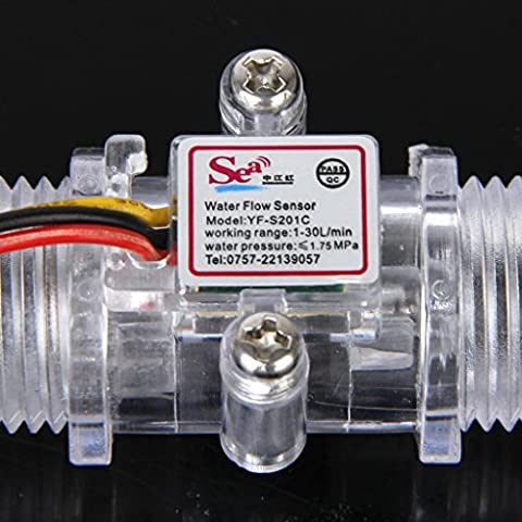Generic 1-30L / Min Transparente Wasserdurchflusssensor Transparente Durchflussmesser Halle (Rh Außengewinde)