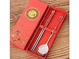yter Chinesischer Stil Edelstahl Essstäbchen und Löffel Set Chinese Red Muster