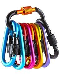 Gimars 10 Stück D-Ring Karabiner mit Schraubverschluss, Aluminium Schlüsselanhänger Karabinerhaken, Schraubkarabiner für Camping, Angeln, Wandern Oder Reisen