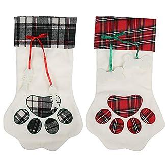 Kesote 2 Calcetín de Navidad en Forma de Pata de Perro Calcetín de Navidad para Regalo Calcetines Decorativos para Hogar, Conjunto en 2, 45 x 20CM