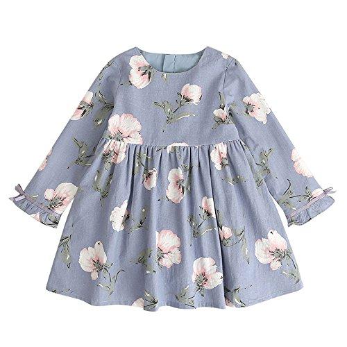 Babykleidung,Honestyi Kleinkind Kinder Baby Mädchen Kleidung Langarm Floral Bowknot Party Prinzessin Kleider (110,Hellblau)