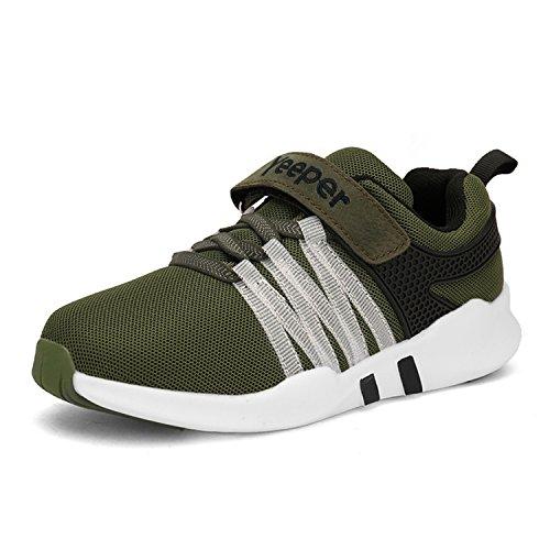 Yeeper scarpe da ginnastica scarpe sportive tennis sneaker traspirantes per per bambini e ragazzi verde/nero eu35