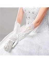DELLT- Coréen Minimaliste Blanc Gants Dentelle Mariée Longue Section De Gants De Forge Accessoires De Mariage