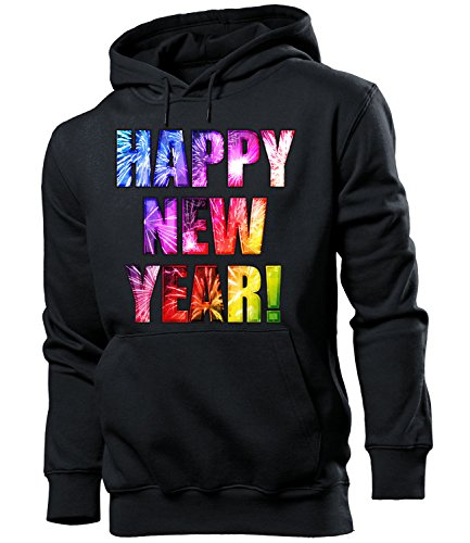 love-all-my-shirts Happy New Year 5983 Silvester 2018 2019 Herren Hoodie Polenböller Cobra Böller Pullover Feuerwerk Outfit Pyrotechnik Deko Knaller Hülsen Schwarz M (2019 My Happy Halloween)