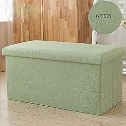 LinLiQiao- Baumwolle rechteckige Lagerung Hocker Hocker kann sitzen Erwachsenen Sofa Hocker Schuhbank multifunktionale Home Storage Box (Farbe : Green 78L)