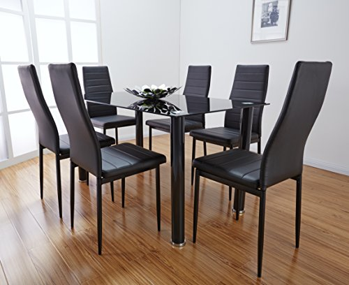 Glass Dining Table Set White: Black & White Glass Dining Table Set With 6 Faux Leather