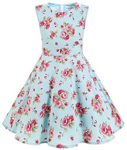 MUADRESS Girls Sleeveless O-Neck Audrey 1950s Vintage Swing Cocktial Party Dress Blue Red Flower S
