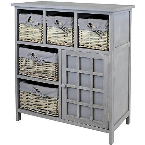 hartleys grey farmhouse storage unit with wicker baskets search furniture. Black Bedroom Furniture Sets. Home Design Ideas