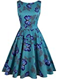 OWIN Women's Vintage 1950's Floral Spring Garden Picnic Dress Party Cocktail Dress (XXL, Green + Butterfly)