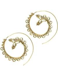 b9e2b1790c62 Chic-Net Espiral Pendientes espirales de latón antiguo hojas de latón níquel  bolas de oro