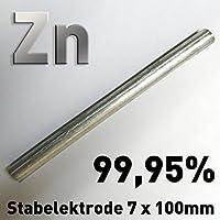 Varilla de cinc ánodo/electrodo (10cm x 7mm) para Zinc electrolitos/galvanoplástica lápiz ánodo Víctimas ánodo 100≠ 8
