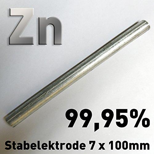 Zink-Stab-Anode / Elektrode (10 cm x 7 mm) für Zinkelektrolyt / Galvanik Stiftanode Opferanode 100 ≠ 8 (1)