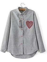Dioufond® Camisas Mujer Rayas Manga Larga con Bordados de Corazón