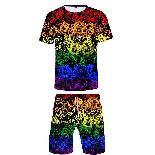 INSTO 3D Gedruckt T-Shirt Kurze Hose 2 Stücke Einstellen Beiläufig Sport Kleider Stolz Monat LGBT Drucken Kleidung Fitness Tragen Trend Freizeit / A5 / Xl -