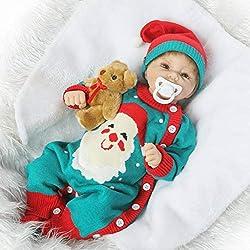"""Nicery Bambino del bambino di Nicery Baby Morbido Silicone Simulazione Vinile 20"""" 48-50 cm Bocca Magnetica Lifelike Ragazzo Ragazzo Cuscino Rosso con abito per il Ringraziamento Nero Vener"""