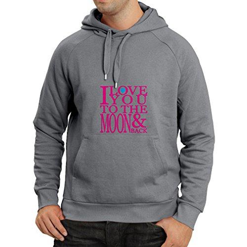 Kapuzenpullover Ich liebe dich zum Mond und zurück zu lieben T-Shirt, große Valentinstag Geschenk (Large Graphit Magenta)