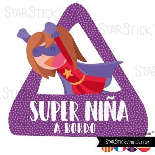 StarStick - Súper niña a bordo– triángulo adhesivo de Bebé a Bordo - Castellano