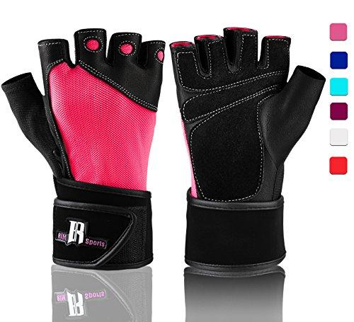 Levantamiento de pesas guantes con muñeca apoyo–Guantes de entrenamiento con muñeca acolchado para levantamiento de pesas, entrenamiento, levantamiento de peso, gimnasio guantes, guantes para levantamiento de calidad, color rosa, tamaño S