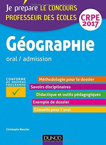 Géographie - Professeur des écoles - oral / admission - CRPE 2017