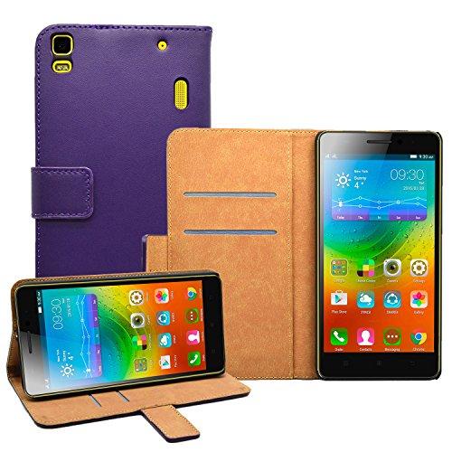 Membrane - Morado Cartera Funda Carcasa para Lenovo K3 Note (K50-t5) - Wallet Case Cover + 2 protectores de pantalla