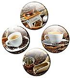 Kühlschrankmagnete Kaffee 4er Set Küchen-Magnete Ø 50 mm Coffee mit Motiv Kaffeemühle Tasse Bohnen