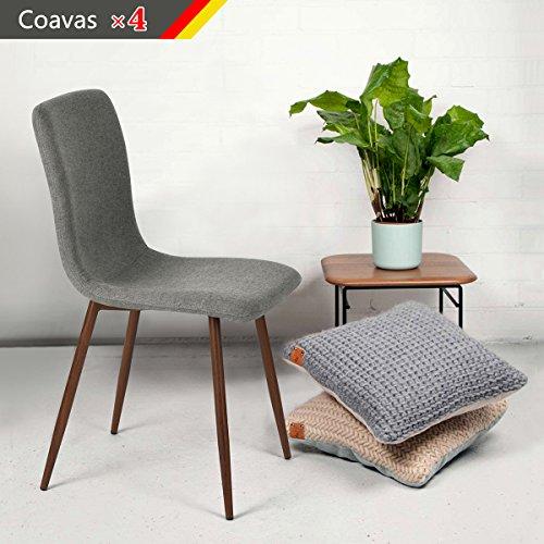 Set von 4 Esszimmerstühle Coavas Stoff Kissen Küche Stühle mit soliden Metall-beinen für Esszimmer, Grau