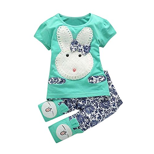 SHOBDW Girls Clothing Sets, Toddler Baby Pretty Bunny Outfit Embroidery Bowknot Short Sleeve T-Shirt Tops + Pants Kids Party Summer Clothes Gifts (12-18 Months, Green)