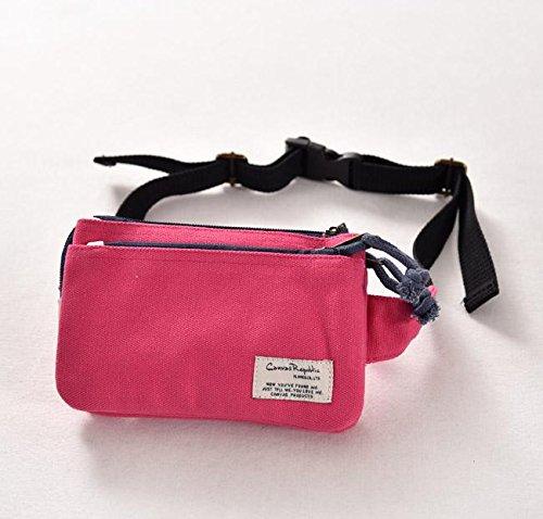 &ZHOU femminile borsa di tela borsa a tracolla grande capacità zaino Messenger Messenger bag di svago di modo 18 * 12cm , black Pink