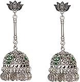 #8: Sansar India Oxidized Lotus Stud Coin Charms Jhumka Jhumkas Jhumki Earrings for Girls and Women
