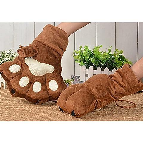 Spesso Cartoon Bear Tiger Leopard Paw Gloves Guanto zampa peluche giocattoli caldi guanti marrone
