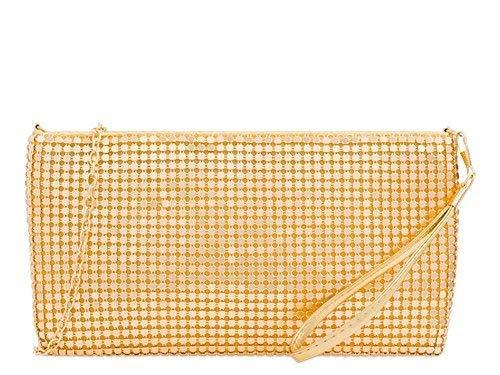 Haute für Diva der Damen Neu Kette Armband Wristlet Kettenhemd Handtasche Tasche Geldbörse Schminktasche - Gold, Medium