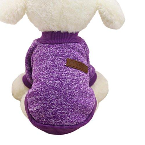 KanLin Haustier Hund Kleidung Soft Verdickung Warm Streifen Polar Fleece Winter Kleider (M, Lila) (Carrier Dog Prinzessin)