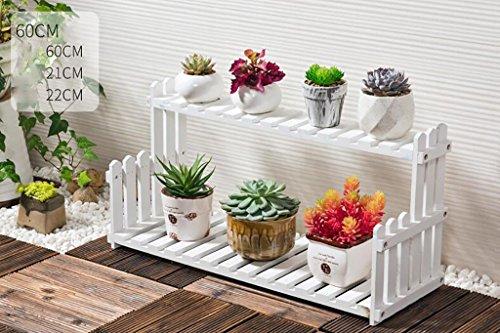 Porte Plante Présentoir de fleur de plantes en bois Support de tablette en bois Pot Atterrissage intérieur extérieur 2 couche Pots Holder (Blanc) Étagères à fleurs (taille : 60 cm)