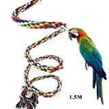 Leetop Vögel Spielzeug,1.5M Bunte Parrot Climbing Rope Sling,Schaukel Spielzeug,Spirale Stehen-seil,Regenbogen Cotton Rope Parrot mit Glocke