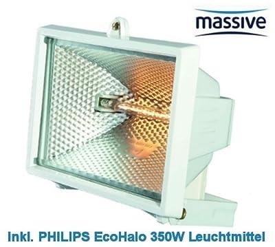 Massive by Philips Halogen Strahler, Flutlicht, Gartenstrahler max. 500 Watt, 230V, inkl. 350 Watt EcoHalo R7s Halogenstab von Massive bei Lampenhans.de