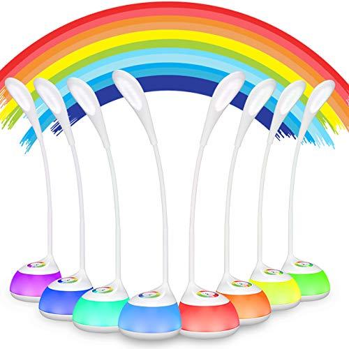 LED Schreibtischlampe Akku, Kinder Tischlampe Leselampe mit Touchfeld für Farblicht und 3 Helligkeitsstufen, Weiß