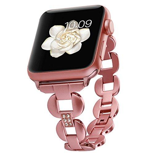 Moretek Zirkonia Elemente Armband Edelstahl Ladies für Apple Watch Series 2 / Series 1 / Series 3 (38MM, Rose Red) (Klassischen Elementen Womens)
