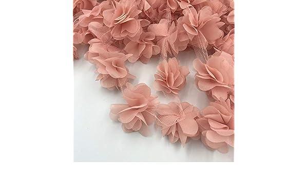 24 St/ück Blumen 3D Chiffon Cluster Blumen Spitze Kleid Dekoration Spitzenstoff Applikation Besatz N/ähzubeh/ör Einheitsgr/ö/ße a