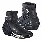 Waterproof Motorbike Boots Motorcycle Armoured Short Ankle Shoes Crash Protection Protective Comfortable Racing Touring Sports Safety | Full Black, UK 8/EU 42