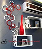 Naveed Arts - 3D Acrylic Mirror Wall Decor Stickers For Home & Office - Red & White, 10 Ring + 3 Rings - JB019S2RW