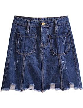 Sentao Mujer Verano Vintage Corto Falda de Mezclilla Cintura Alta Mini Vaquera Faldas