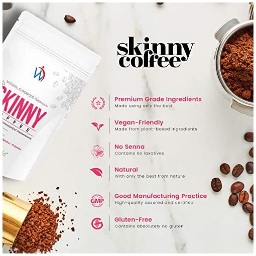Skinny Coffee – Fast 28 Day Weight Loss Programme – Instant Ground Keto Slimming Coffee Contains Arabian Coffee, Green Coffee Beans, Energy Boost Ginseng & Macha Fat Burners – by WeightWorld